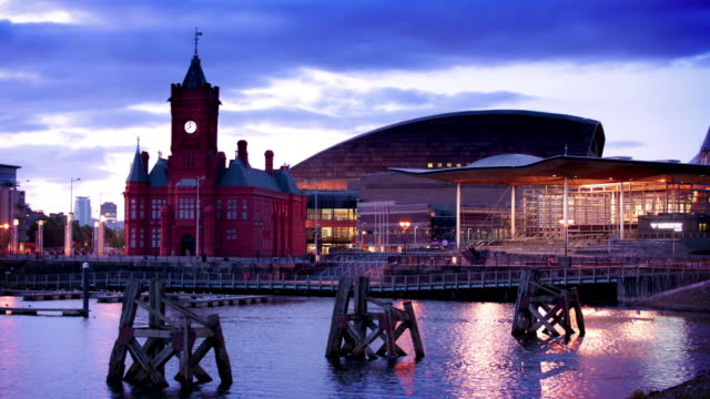 cardiff bay at dusk, wales - cardiff wales stock videos & royalty-free footage