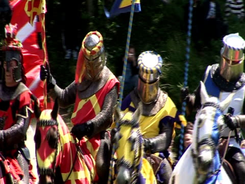 cardiff castle - medieval reinactment of jousting competition - reenactment stock videos & royalty-free footage