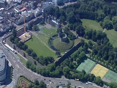 cardiff castle stands in the centre of the city. - cardiff wales stock videos & royalty-free footage