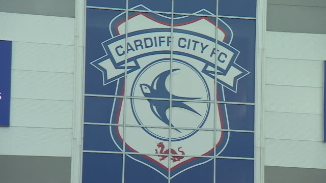 Cardiff City FC logo and sign at the Cardiff City Stadium