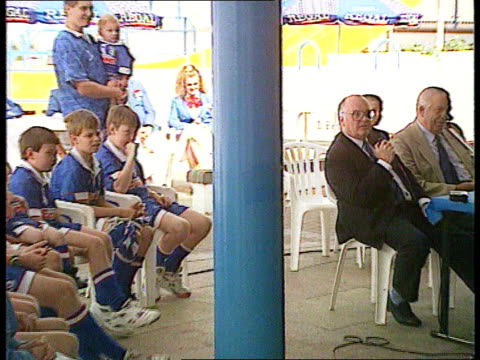 Shares given away WALES CMS Members of junior supporters' club HTV Cardiff sitting Ninian Park MS Line of supporters sitting CMS Rick Wright sitting...