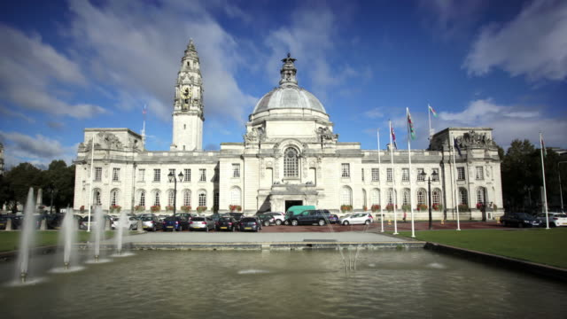 cardiff city hall, wales, uk - cardiff wales stock videos & royalty-free footage