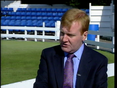 Cardiff Glamorgan Cricket ground INT MS Charles Kennedy with cricket stand in b/g 2 SHOT Charles Kennedy interview SOT we wanted to convey that we...