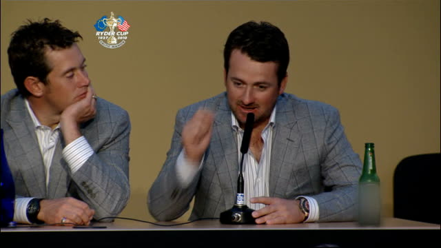 cardiff graeme mcdowell mbe at ryder cup press conference - pga event stock videos and b-roll footage