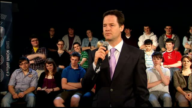 cardiff int nick clegg speaking to group of students sot this is such bilge/ i've always been completely open about the fact that 20 years ago i... - andrew neil stock videos and b-roll footage