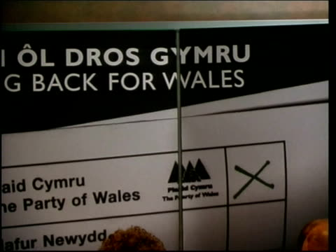 cardiff int plaid cymru president ieuan wyn jones at podium at launch of party manifesto party officials at press conference cms backdrop to press... - plaid stock videos & royalty-free footage