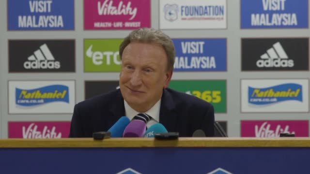 Cardiff manager Neil Warnock gives a postmatch press conference after the Premier League team's 51 loss to Manchester United at home