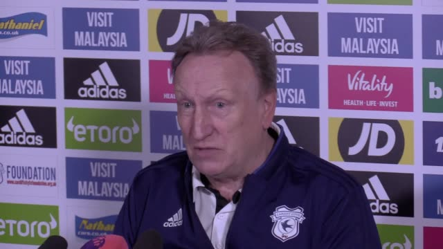 Cardiff manager Neil Warnock gives a press conference ahead of the team's Premier League game against Leicester