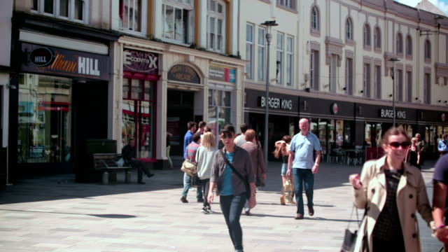 cardiff queen street - high street stock videos & royalty-free footage