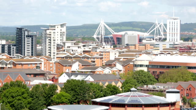 cardiff skyline - cardiff wales stock videos & royalty-free footage