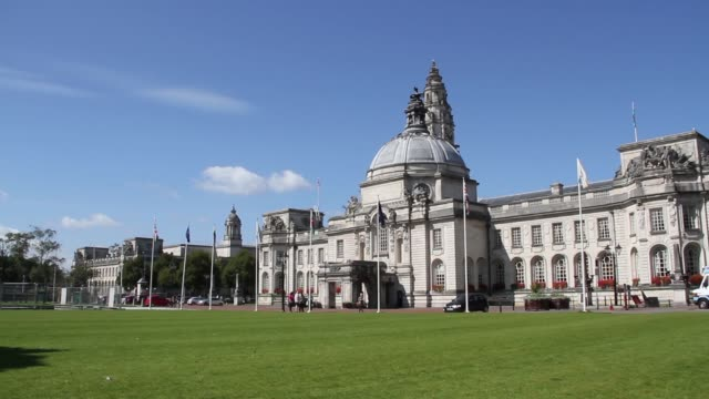 cardiff town hall, wales - dome stock videos & royalty-free footage