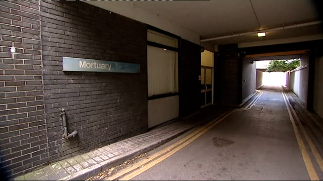 cardiff university hospital ext sign for mortuary and general views exterior of mortuary - pompe funebri video stock e b–roll