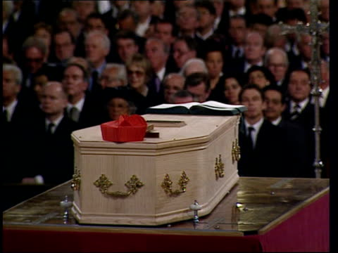 cardinal basil hume funeral; bbc pool england: london: westminster cathedral: int tgv procession into cathedral for funeral of cardinal basil hume... - robert runcie stock videos & royalty-free footage