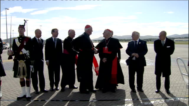 cardinal cormac murphy o'connor looks to reform ad renewal in the church; r16091001 / scotland: edinburgh airport: ext prince philip and others... - cormac murphy o'connor stock videos & royalty-free footage
