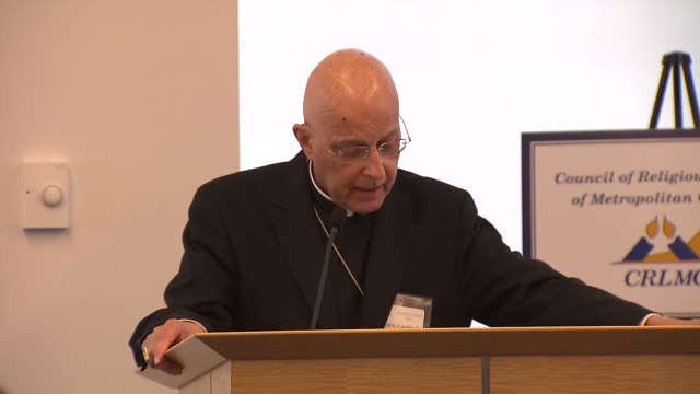 cardinal francis george was one of three people to receive the interreligious leadership award from the council of religious leaders of metropolitan... - cardinal clergy stock videos and b-roll footage