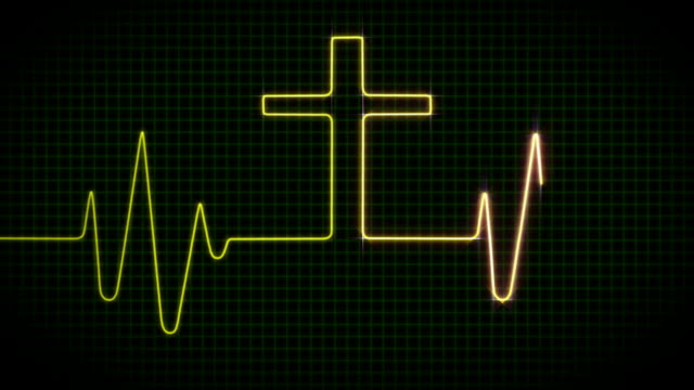 cardiogram con cross-verde - cristianesimo video stock e b–roll