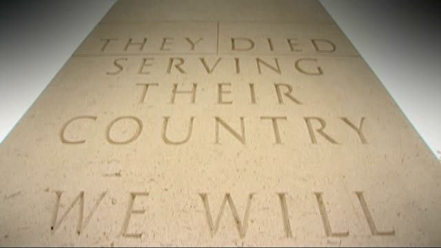 the forgotten fallen staffordshire 'they died serving their country' inscription on national war memorial tilt down 'we will remember them' - engraved image stock videos and b-roll footage