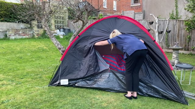 care home staff living in tents after they moved into the care home on the isle of wight so it can go into complete lockdown during the coronavirus... - tent stock videos & royalty-free footage