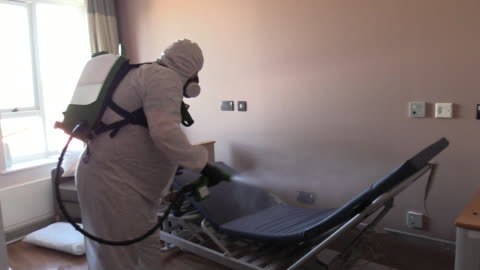care homes being sanitised to prevent the spread of coronavirus - spraying stock videos & royalty-free footage