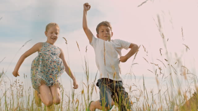 ms carefree boy and girl jumping in sunny rural field - sister stock videos & royalty-free footage