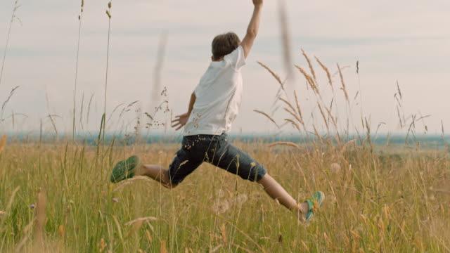 vidéos et rushes de carefree ms garçon sautant de joie dans le domaine rural idyllique - 8 9 ans