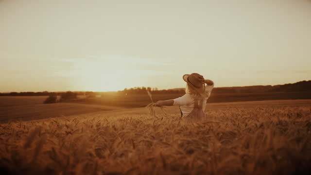 carefree woman holding wheat crop and straw hat while running across the field - dress stock videos & royalty-free footage