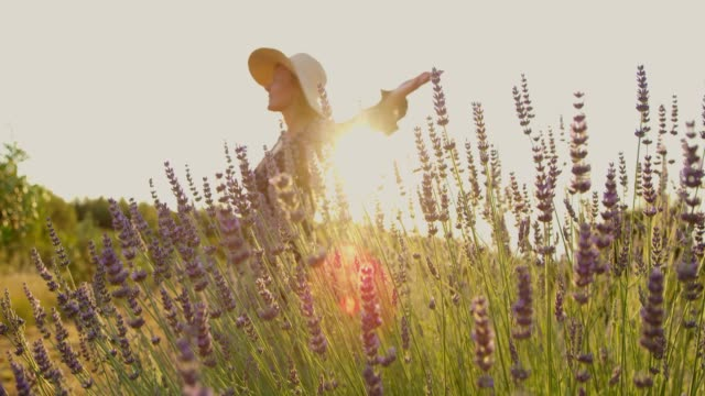 MS SLOW MOTION  Carefree woman spinning in sunny,idyllic lavender field