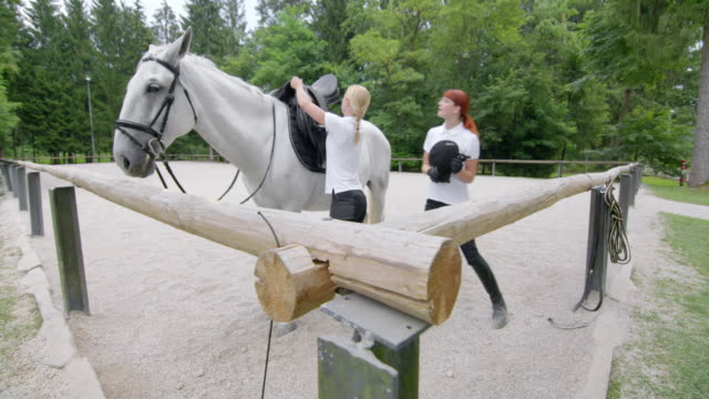 DS Caretaker tacking up a white horse for the rider