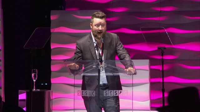 carey barlowe accepts his songwriter of the year award joking that he should've had another cocktail at 2015 sesac nashville music awards at country... - songwriter stock videos & royalty-free footage