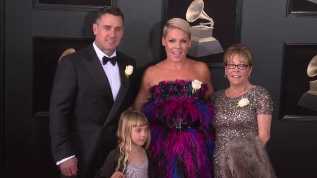 Carey Hart Willow Sage Hart Pink and Judith Moore at 60th Grammy Awards Celebration Party at Madison Square Garden on January 28 2018 in New York City