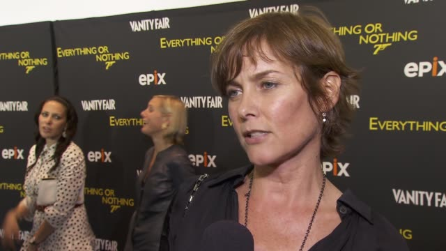 carey lowell on her favorite part of the bond film licensed to kill, on which presidential candidate would make a better james bond at epix and... - ボンドガール点の映像素材/bロール