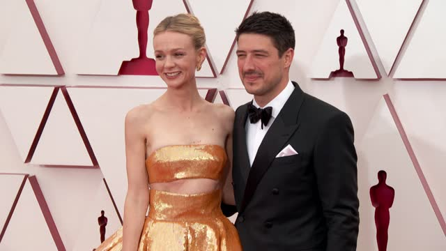 stockvideo's en b-roll-footage met carey mulligan, marcus mumford at the 93rd annual academy awards - arrivals on april 25, 2021. - academy awards