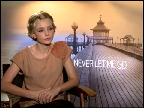 carey mulligan on what the film is about at the 2010 toronto international film festival 'never let me go' junket at toronto on - festival internazionale del cinema di toronto video stock e b–roll