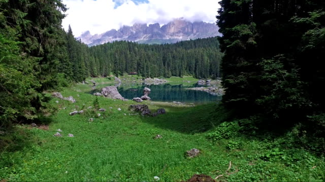 carezza lake - trentino - italy - pjphoto69 stock videos & royalty-free footage