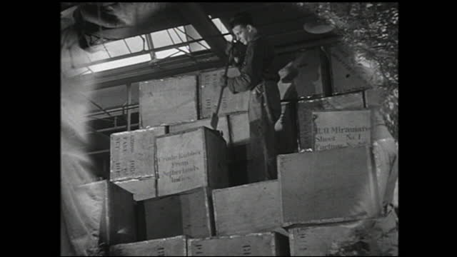 cargo being unloaded from truck and people passing by in the background; field operators in front of switchboard and with headphones; worker standing... - 1940 1949 video stock e b–roll
