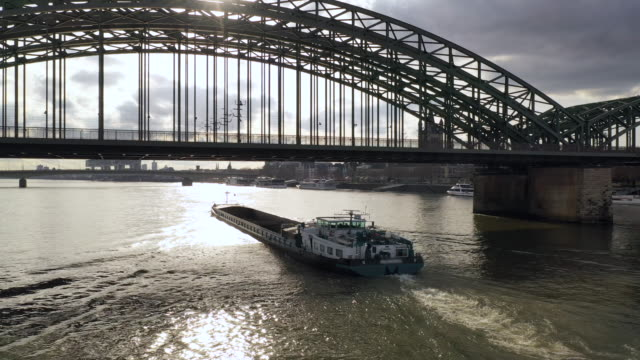 cargo boat on the rhine river - river rhine stock videos & royalty-free footage