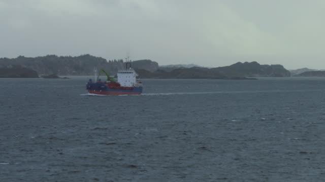 Cargo boat sailing