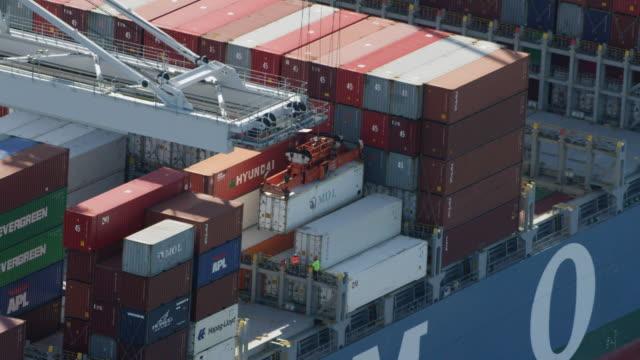 MS HA POV Cargo container loading on cargo ship / Savannah, Georgia, United States