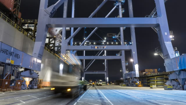 Cargo Containers From Ship to Truck - Time Lapse