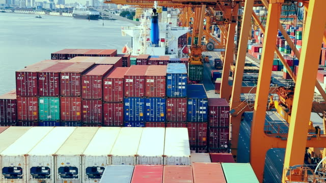cargo containers port shipping business working - cargo ship stock videos & royalty-free footage