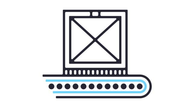 cargo conveyor icon animation - crate stock videos & royalty-free footage