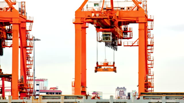 Cargo Crane working at Port Time Lapse