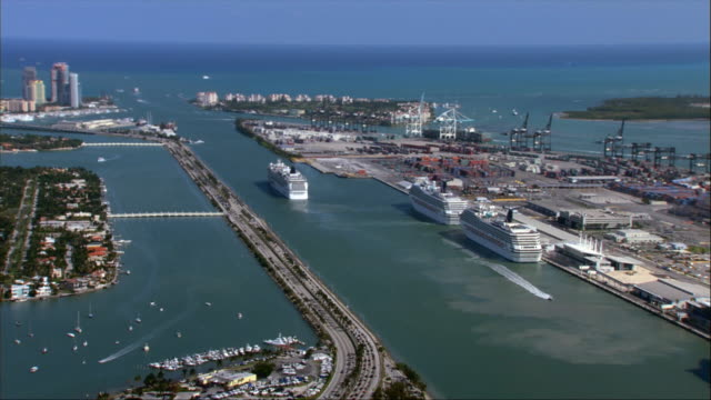 aerial, cargo loading dock and residential islands, miami, florida, usa - cruise stock videos and b-roll footage