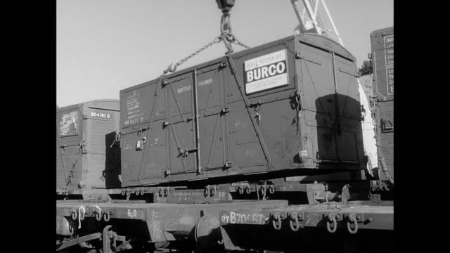 cargo loading onto trains and trucks - british rail stock videos & royalty-free footage