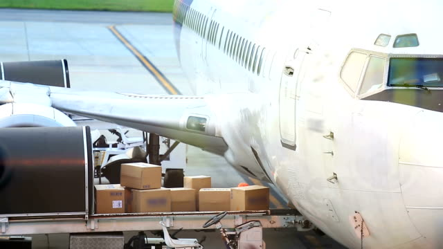 Cargo loading to plane for air freight logistic background