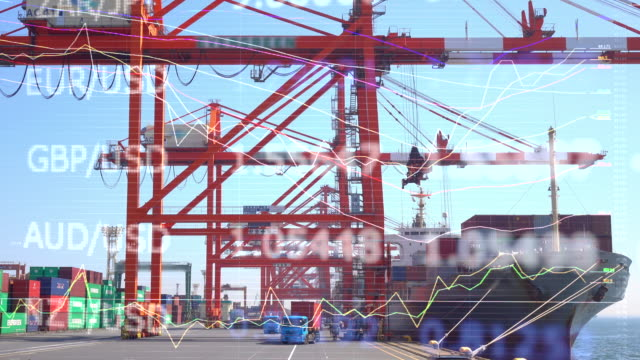 Cargo sea port and charts and graphs