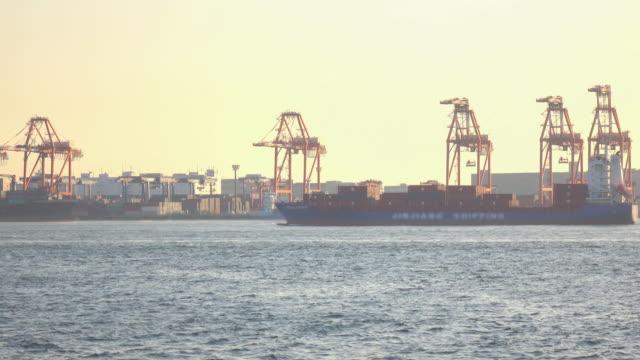 Cargo sea port at dusk -4K-