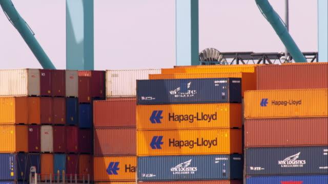 Cargo Ship Being Loaded in Newark Bay