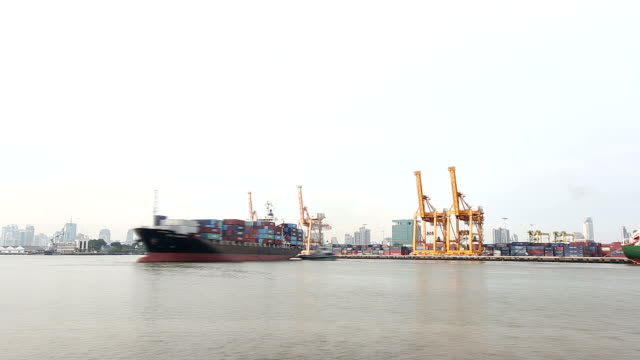 cargo ship depart from bangkok shipyard time lapse for logistic - container stock videos & royalty-free footage