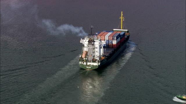 Cargo Ship In Cork Harbour  - Aerial View - Munster, Cork, Ireland